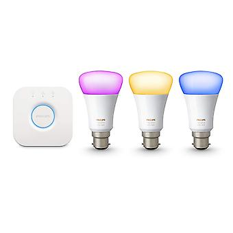 Philips Hue White and Colour Ambiance Wireless Lighting B22 Bayonet Cap Starter Kit, 3 x Philips Hue 9 W B22 Richer Colour Bulbs, 1 x Hue Bridge 2.0, Apple Home Kit Enabled, Works with Alexa [Energy Class A+]