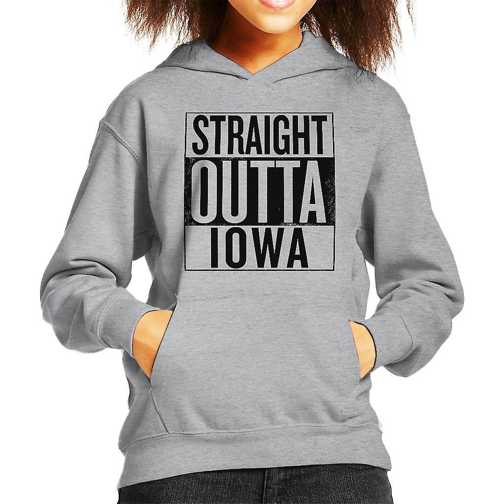 Black Text Straight Outta Iowa US States Kid's Hooded Sweatshirt