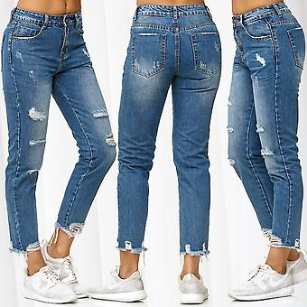 Ladie's Boyfriend Style Pants Destroyed Ripped Hip Jeans Hole Used 7/8