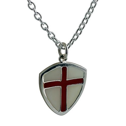 Silver 22x20mm Cross of St George pendant with Cable link chain