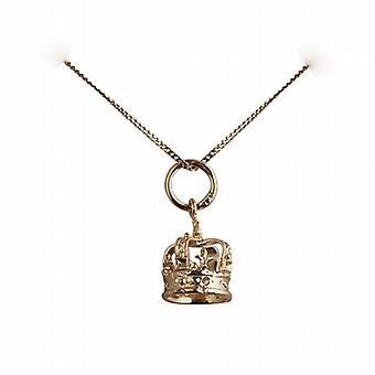 9ct Gold 9x8mm Royal Crown Pendant with a curb Chain 16 inches Only Suitable for Children