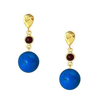 Gemshine Damen Ohrringe mit Türkis Edelsteinen und roten Rubinen. 925 Silber hochwertig vergoldete Ohrhänger - Nachhaltiger, qualitätsvoller Schmuck Made in Germany