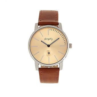 Simplify The 4700 Leather-Band Watch w/Date - Silver/Camel
