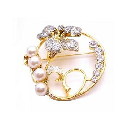 Round Wedding Cake Gold Brooch Flower & Diamante Stud & Pearls
