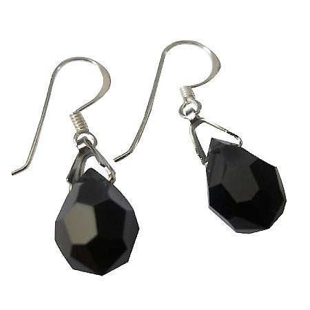 Czech Crystals Tear Drop Earrings Jet Crystal Silver French Earwires