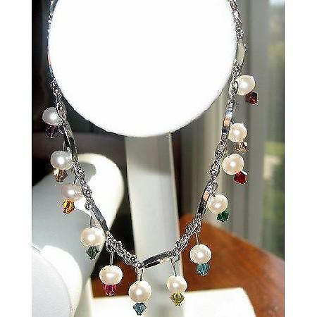 Gorgeous Fresh water Pearls & Multicolored Swarovski Crystals