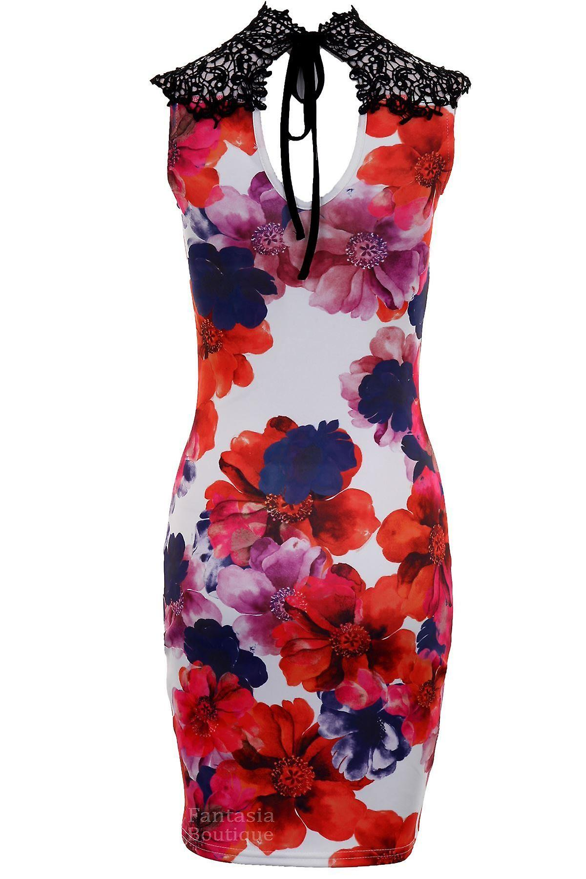 Ladies Floral Print Crochet Neck Sleeveless Evening Party Bodycon Women's Dress