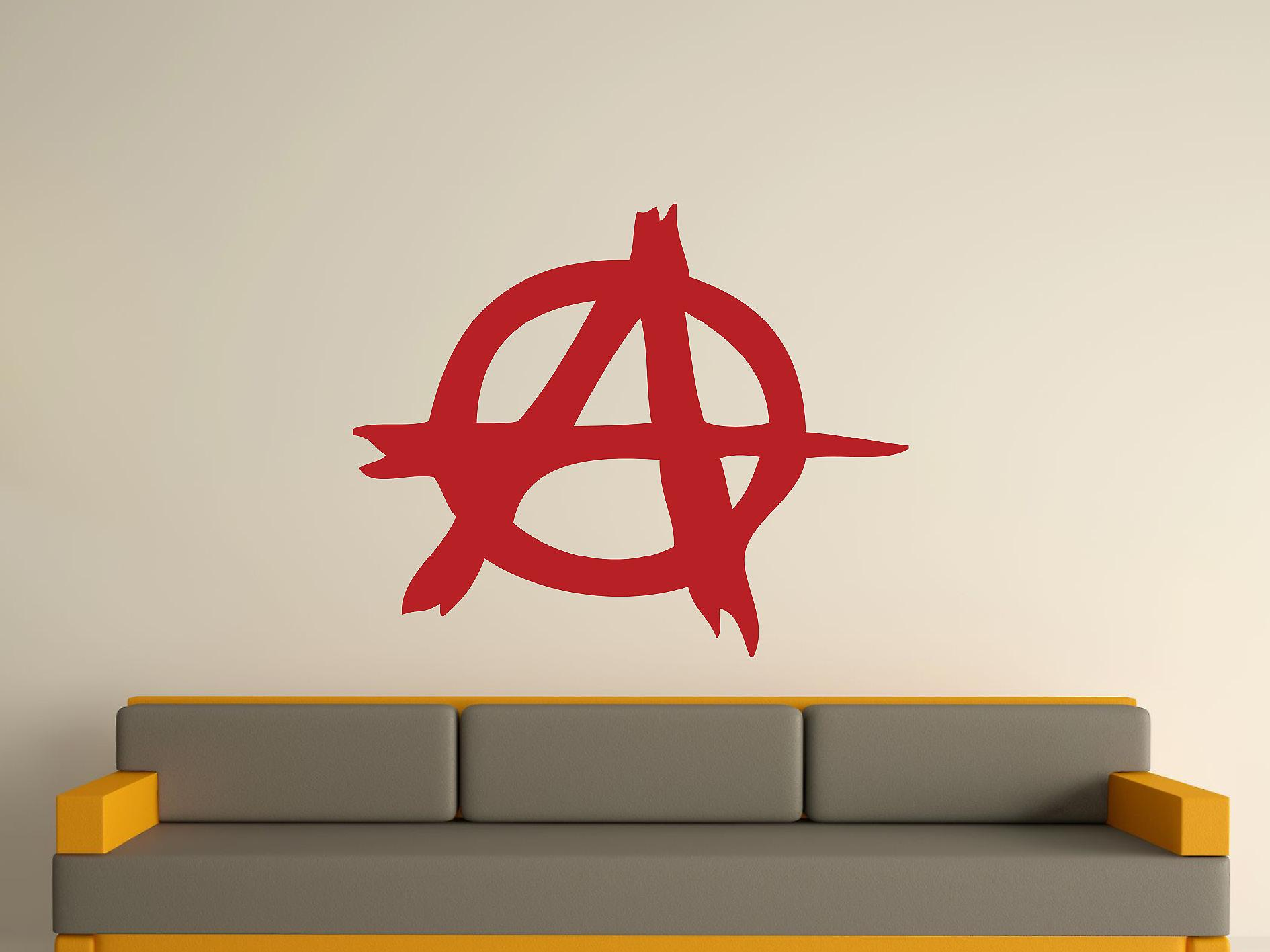 Anarchy Symbol Wall Art Sticker - Dark Red
