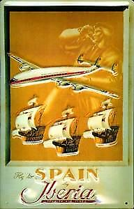 Spain by Iberia Airlines embossed steel sign