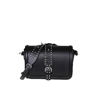 Red Valentino Black Leather Shoulder Bag