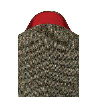 Harris Tweed Mens Green with Brown Overcheck Tweed Jacket Regular Fit 100% Wool Notch Lapel
