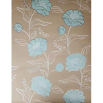 Floral Wallpaper Flower Pattern Beige Teal White Silver Metallic Luxury Juvita