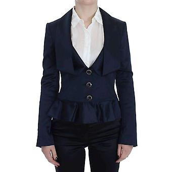 EXTE blauw drie knop Single Breasted Blazer Jacket--SIG3776688
