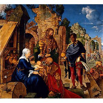 Aanbidding van de koningen, Albrecht Durer, 50x46cm