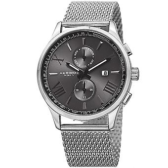 Akribos XXIV Men's Swiss Quartz Multifunction Stainless Steel Mesh Silver-Tone Bracelet Watch AK905SSB