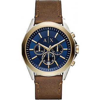 Armani Exchange Drexl Leather Chronograph Mens Watch AX2612