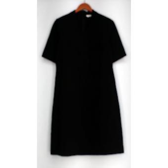 Liz Claiborne York Kleid Essentials Stretch stricken Kurzarm schwarz A295618