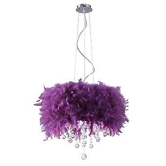 Diyas Ibis Pendant With Purple Feather Shade 3 Light Polished Chrome/Crystal
