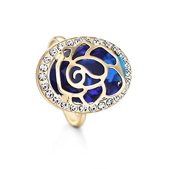 14K Gold Plated Blue Czech Rhinestone Adjustable Ring