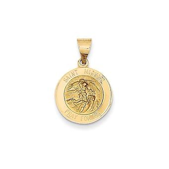 14k Yellow Gold Hollow Satin Back Polished and Satin St. Michael Medal Pendant - .9 Grams