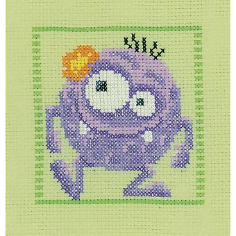 Purple Monster On Aida Counted Cross Stitch Kit-7.5
