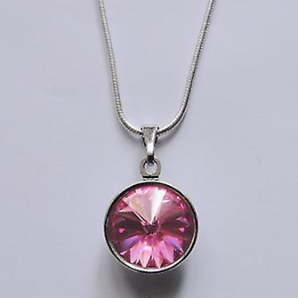 Pendant necklace with pink crystal PMB 2.1