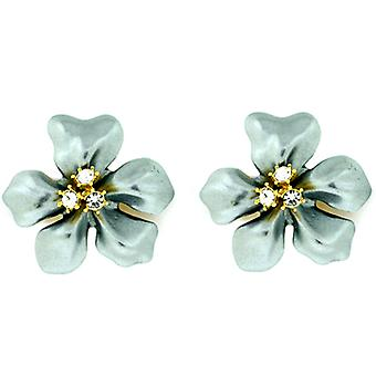 Kenneth Jay Lane Gold Crystal & Grey Pearl Flower Clip On Earrings