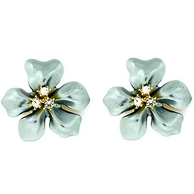 Kenneth Jay Lane Gold Crystal & Grey Pearl Flower Clip On Earrings