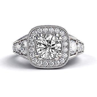 2,30 ct White Sapphire en diamanten Ring witgoud 14K Art Deco ronde