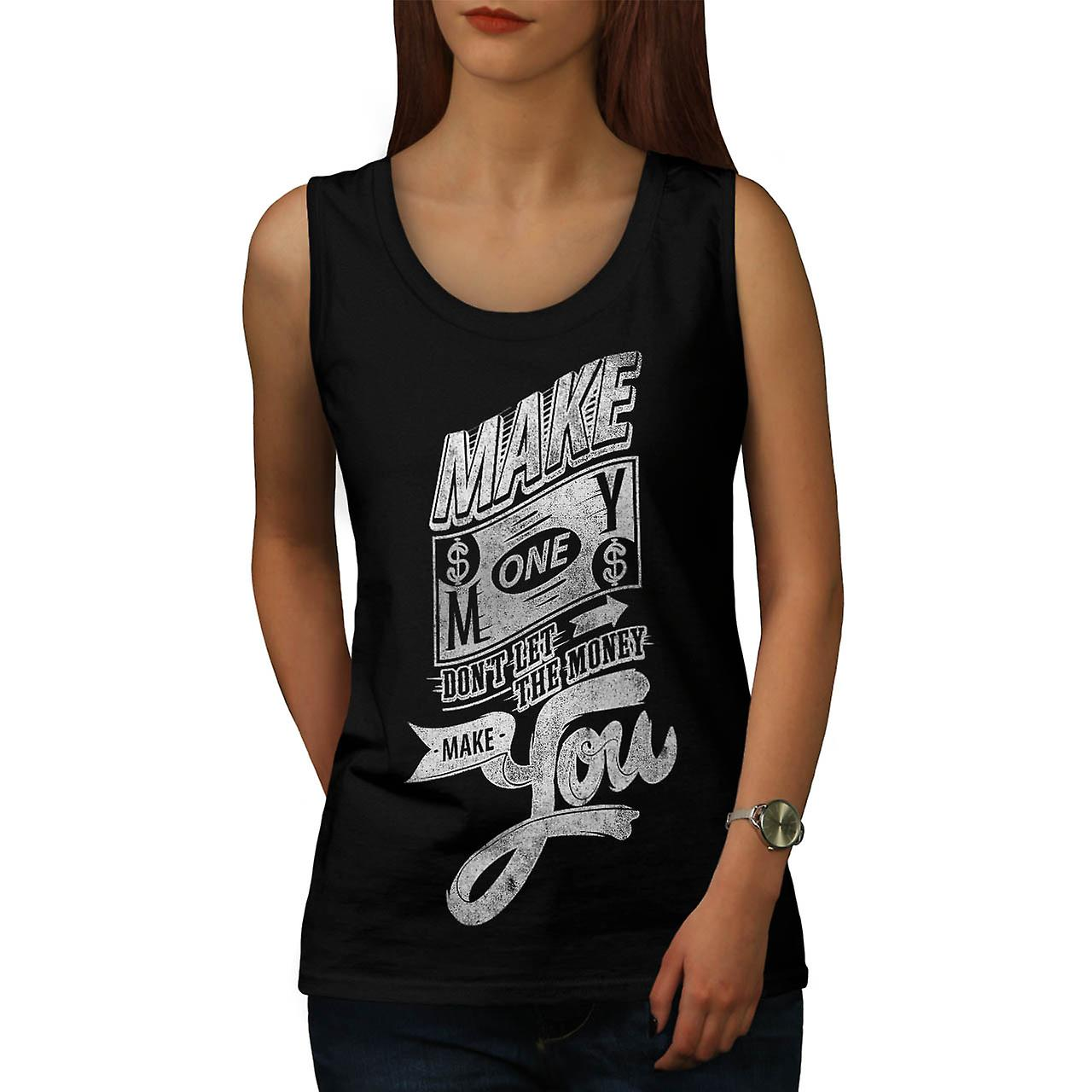 Make Money Inspire Dollars Pound Women Black Tank Top | Wellcoda