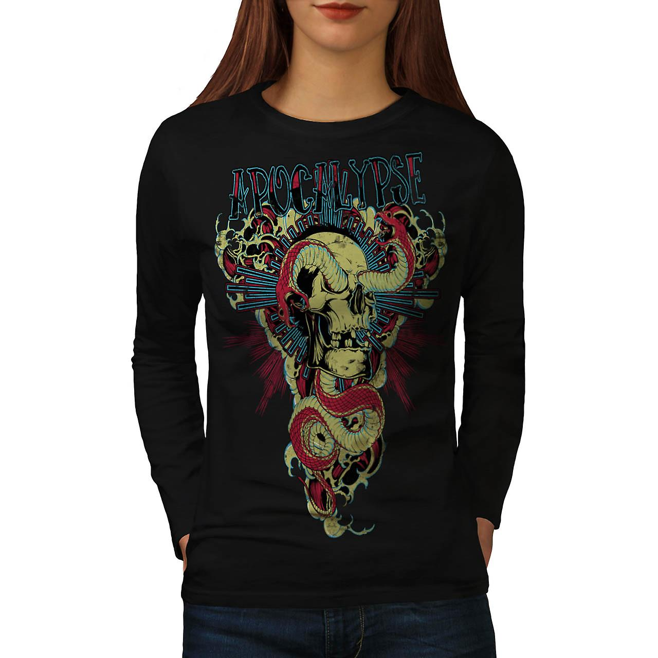 Apocalypse Beast Skull Women Black Long Sleeve T-shirt | Wellcoda