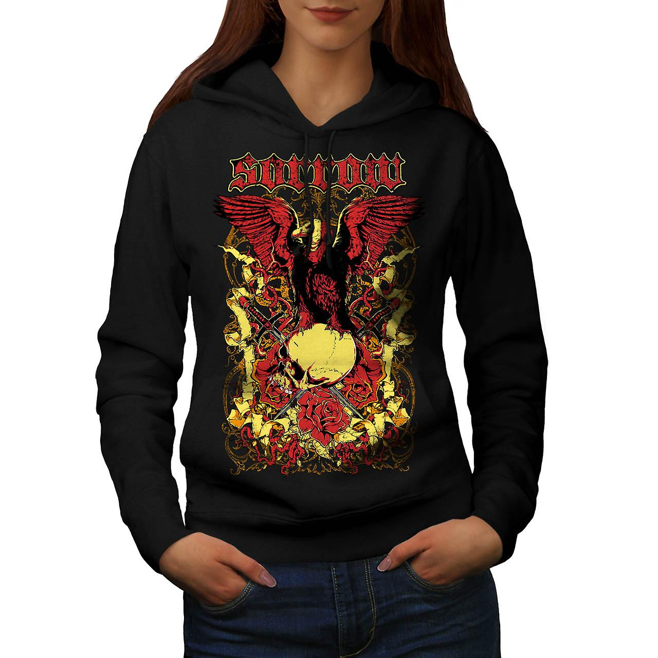 Sorrow Eagle Rose Skull Grave Yard Women Black Hoodie | Wellcoda
