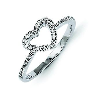 Sterling Silver and Cubic Zirconia Brilliant Embers Heart Ring - Ring Size: 6 to 8