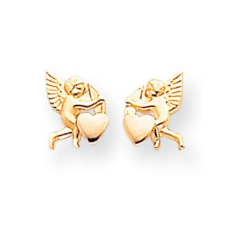 14k Yellow Gold Polished and Rhodium Cupid Heart Post Earrings - .3 Grams - Measures 9x6mm