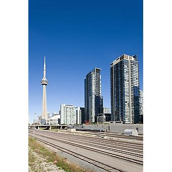 Skyscrapers and railway yard with CN tower in the background Toronto Ontario Canada 2013 Poster Print by Panoramic Images (24 x 36)
