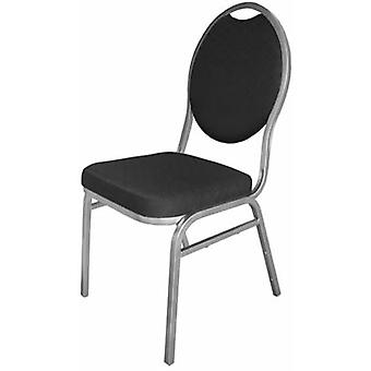 Pringo Banqueting Oval Back With Black Plain Cloth Chairs Set Of 4 Fully Assembled