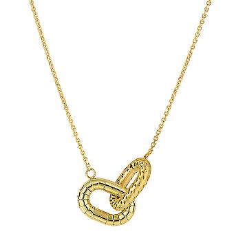 14k Yellow Gold Interconnected Oval Charms Necklace, 18