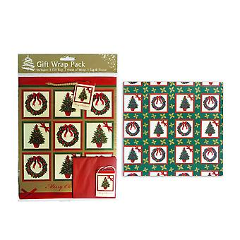 Christmas Gift Wrap Pack incl. Gift Bag, Wrap Paper, Tag & Tissue Merry Xmas