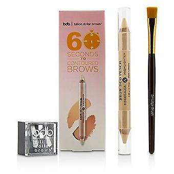 Billion Dollar Brows 60 Seconds to Contoured Brows Kit (1x Brow Duo Pencil 1x Smudge Brush 1x Duo Sharpener) - 3pcs