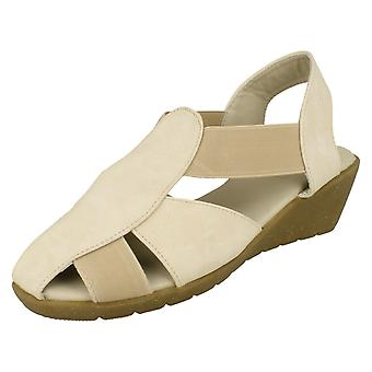 Ladies Casual Down To Earth Sling Back Wedge Sandal F10428