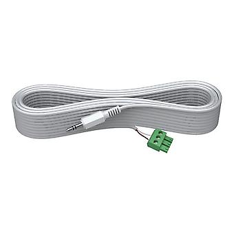 VISION 3 m 3.3 MM MINIJACK CABLE-High-Grade White Installation Cable. A moulded connector on one end, and a male phoenix connecting