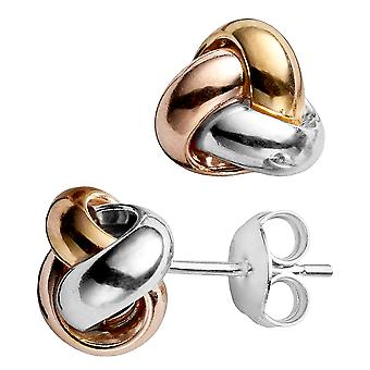 14k Tricolor Yellow White And Rose Gold Shiny Love Knot Stud Earrings, 9mm