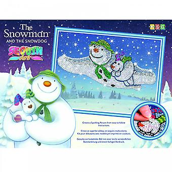 KSG The Snowman And The Dog Sequin Art
