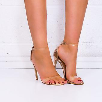 Spylovebuy MISRI Open Peep Toe Barely There High Heel Stiletto Sandals Shoes - Gold Patent