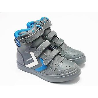 Hummel Hummel Boys Grey Leather High Top Trainers With Velcro Fastening | Hummel Stadil Castle
