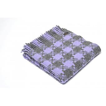 Tweedmill Pure New Wool Geometric Jigsaw Throw - Charcoal/Purple