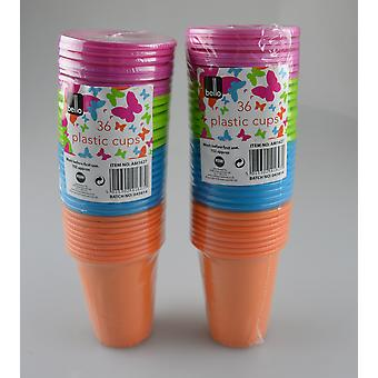 Plastic Cups Party Disposable Tableware Tumblers Drinks Summer BBQ Pack of 72