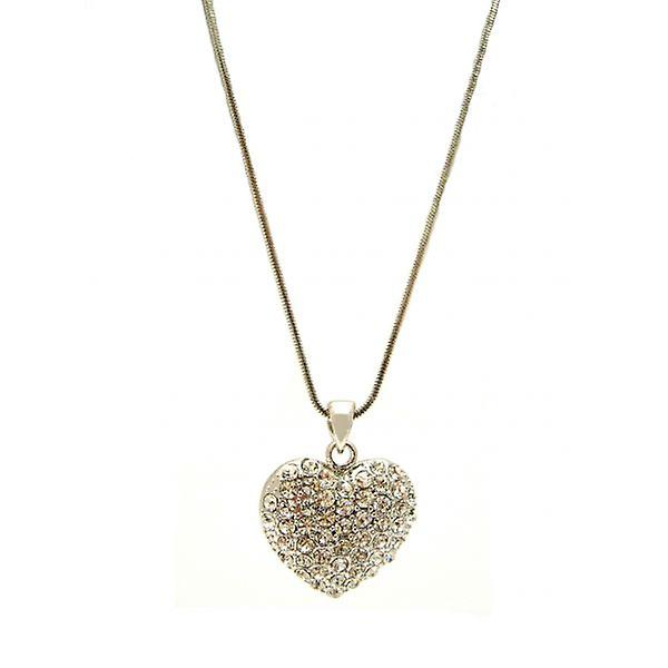 W.A.T Silver Style Sparkling Crystal Heart Shaped Necklace