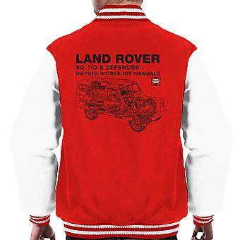Haynes Owners Workshop Manual Land Rover Defender Black mannen Varsity Jacket