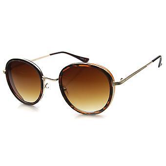 Unisex ronde zonnebril met UV400 beschermd kleurovergang Lens
